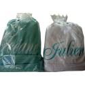 Peignoir de bain Personnalisé pour adulte coloris turquoise et blanc