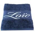 La serviette de bain personnalisée bleu foncé