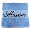La serviette de bain personnalisée bleu clair