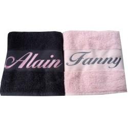Coffret serviettes de bain personnalisées Gris/Rose