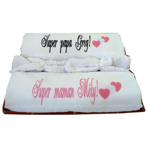 Coffret Duo de serviettes de bain personnalisées + gants