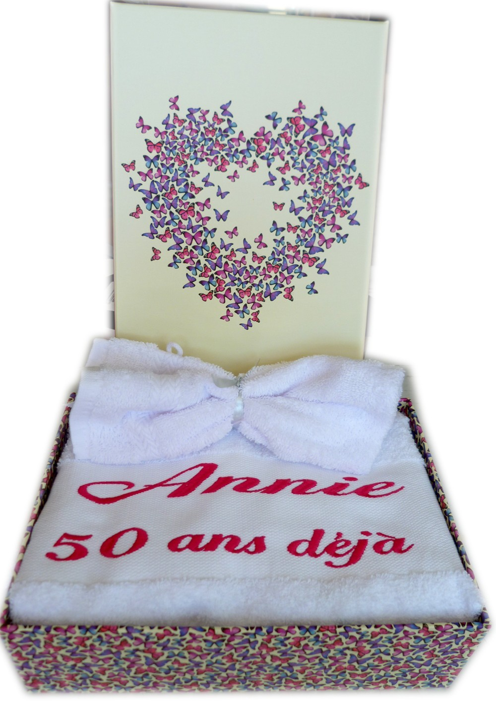 Personnalisé 4 Pièce Serviette ensemble cadeau anniversaire de mariage