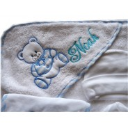 Sortie de bain bébé personnalisée Ours bleu