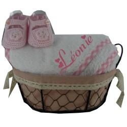 Coffret cadeau naissance personnalisé et chaussons