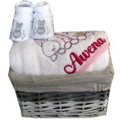 Coffret cadeau naissance personnalisé cape 3amis + chausson