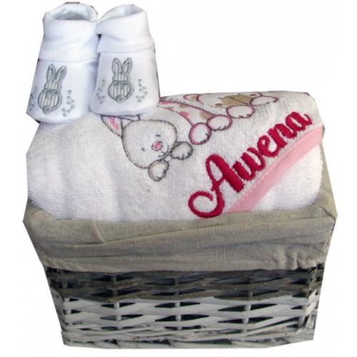 Coffret cadeau naissance personnalisé cape 3amis + chaussons