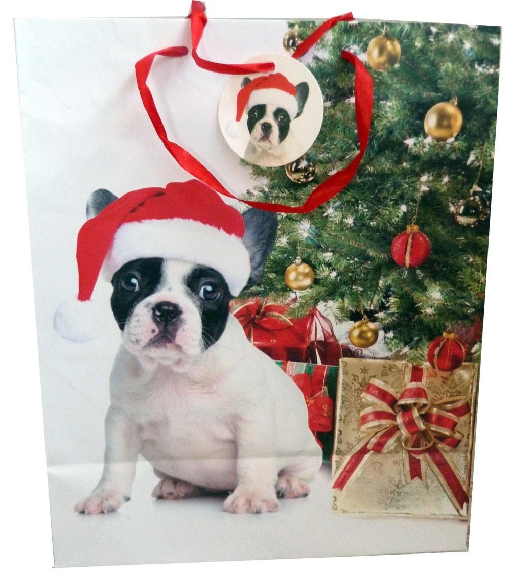 Sac cadeau  noel chien sapin